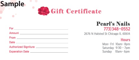 Pearls nails gift certificates gift certificates yelopaper Image collections